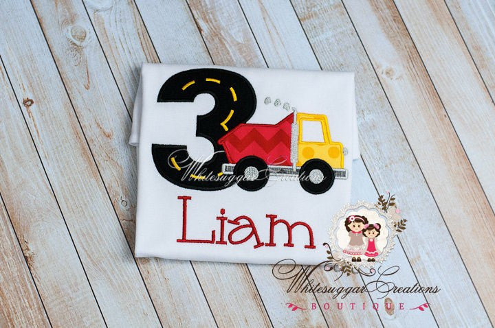 Red Dumptruck Birthday Shirt Whitesuggar Creations