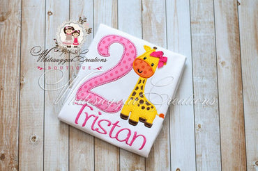 Giraffe Birthday Shirt - Whitesuggar Creations Boutique