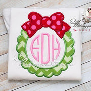 Christmas Wreath Shirt with Monogram Whitesuggar Creations Boutique