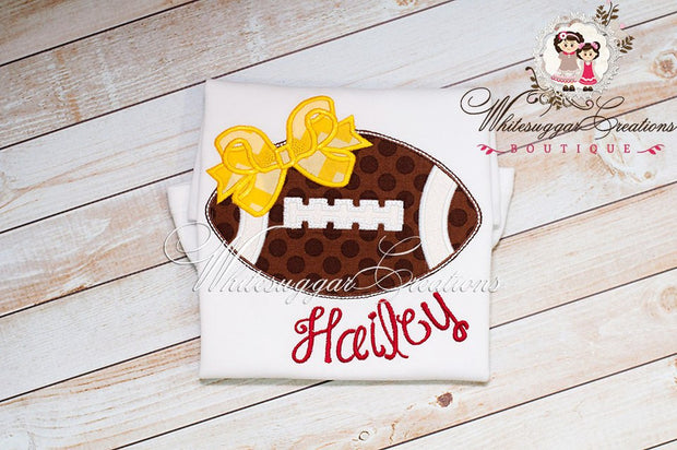 Girl Football Embroidered Shirt - Whitesuggar Creations Boutique