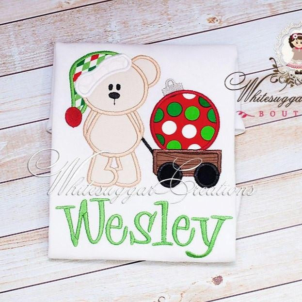 Christmas Santa Bear with Ornament Wagon Shirt Whitesuggar Creations Boutique