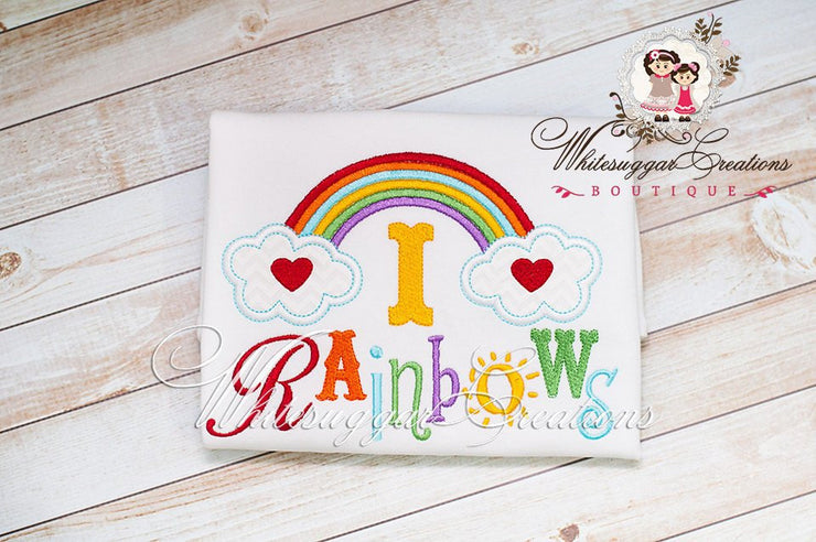 I love Rainbows Embroidered Shirt Whitesuggar Creations