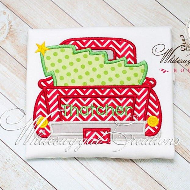 Christmas Old Truck with Tree Shirt Whitesuggar Creations Boutique