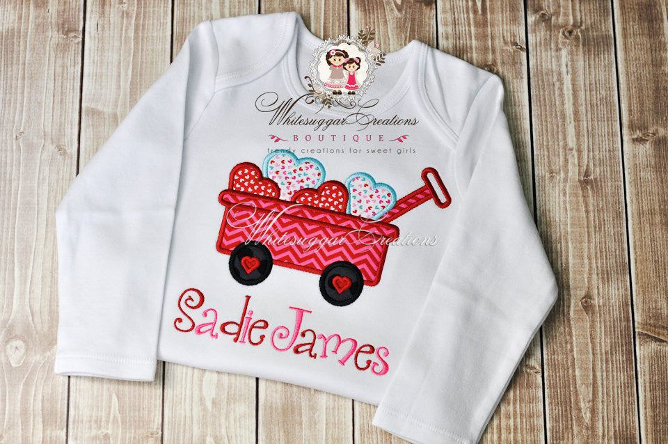 Valentines Day Wagon with Hearts Shirt - Girls Custom Shirt - Girls Hearts Outfit - Baby Girl 1st Valentine's Outfit - Whitesuggar Creations Boutique