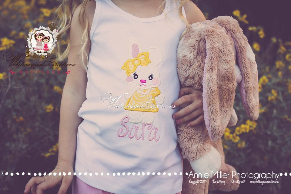 Easter Bunny with Dress and Pearls - Whitesuggar Creations Boutique