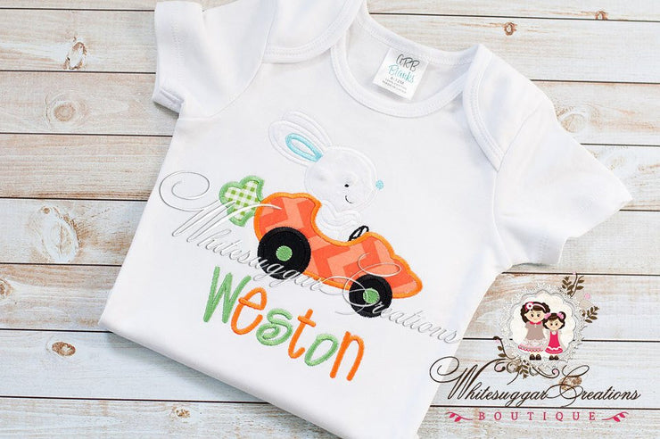 Easter Bunny Carrot Car Appliqued Shirt Boys Shirts Whitesuggar Creations