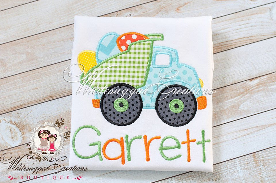 Easter Dump truck with Eggs Appliqued Shirt - Whitesuggar Creations Boutique