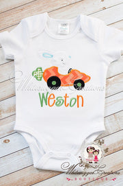 Easter Bunny Carrot Car Appliqued Shirt - Whitesuggar Creations Boutique