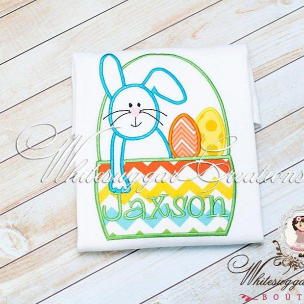 Easter Bunny in a Basket Appliqued Shirt for Boys - Whitesuggar Creations Boutique