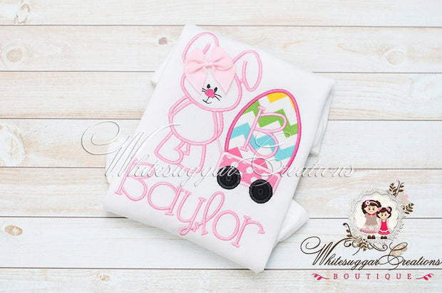 Whimsical Easter Bunny with Wagon Appliqued Shirt - Whitesuggar Creations Boutique