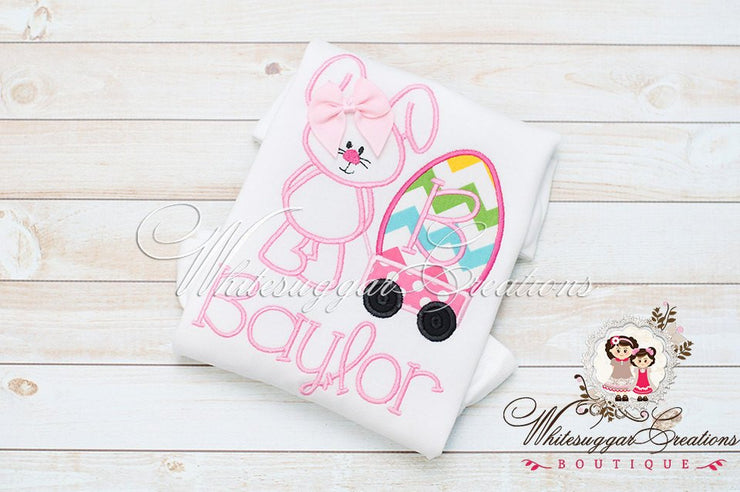 Whimsical Easter Bunny with Wagon Appliqued Shirt Whitesuggar Creations
