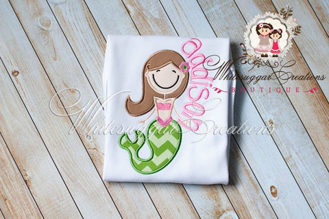Cute Girl Mermaid Embroidered Shirt  - Custom Mermaid - Whitesuggar Creations Boutique