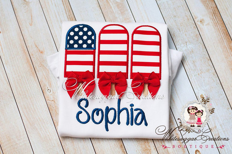 Girls Patriotic 4th of July Flag Popsicles Shirt with Bows Whitesuggar Creations
