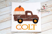 Halloween Old Truck Shirt With Big Pumpkin Whitesuggar Creations Boutique