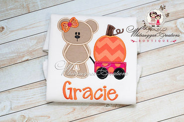 Halloween Girl Bear Shirt with Pumpkin Wagon - Whitesuggar Creations Boutique