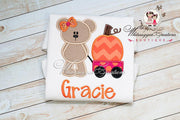 Bear with Pumpkin Wagon Shirt for Girls Whitesuggar Creations Boutique
