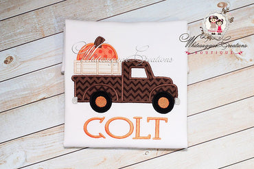 Halloween Old Truck Shirt With Big Pumpkin - Whitesuggar Creations Boutique