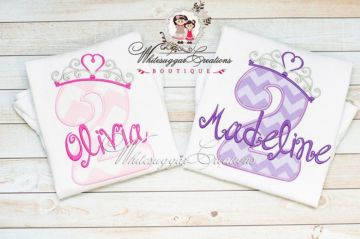 Princess Crown Birthday Shirt - Custom Number with Crown Princess Birthday Shirts - Baby Girl Birthday Outfit - Whitesuggar Creations Boutique