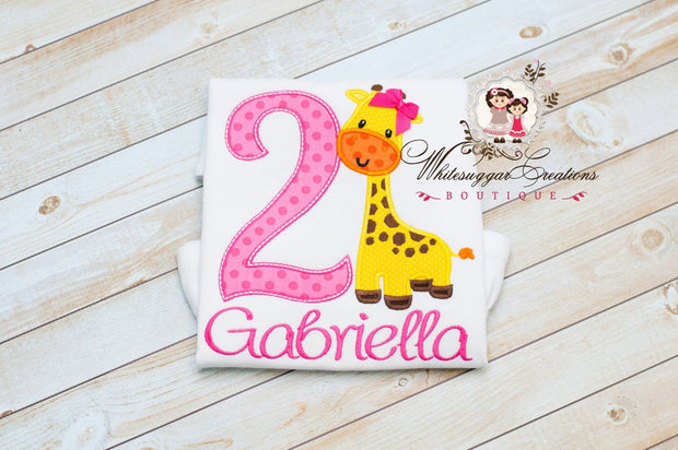 Giraffe Birthday Shirt Whitesuggar Creations