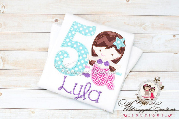 Under the Sea Mermaid Birthday Girl Shirt Whitesuggar Creations