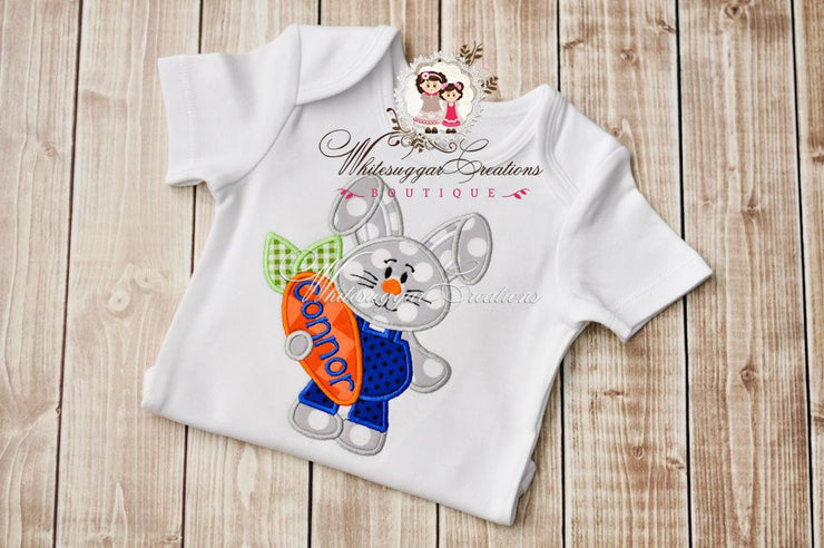 Boy Easter Bunny in Jump Suit Shirt - Bunny Personalized shirt - Whitesuggar Creations Boutique