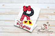 Minnie Mouse Shoes and Bow Initial Shirt Whitesuggar Creations Boutique