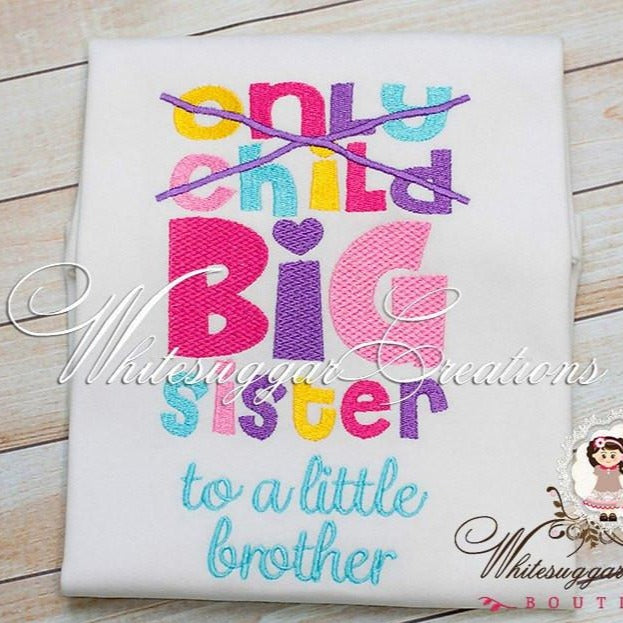 Big Sister Embroidery Shirt - New Baby Arrival - Whitesuggar Creations Boutique