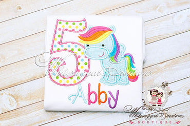 Girls Pony Birthday Shirt - Whitesuggar Creations Boutique