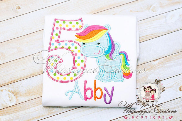 Girls Pony Birthday Shirt Whitesuggar Creations