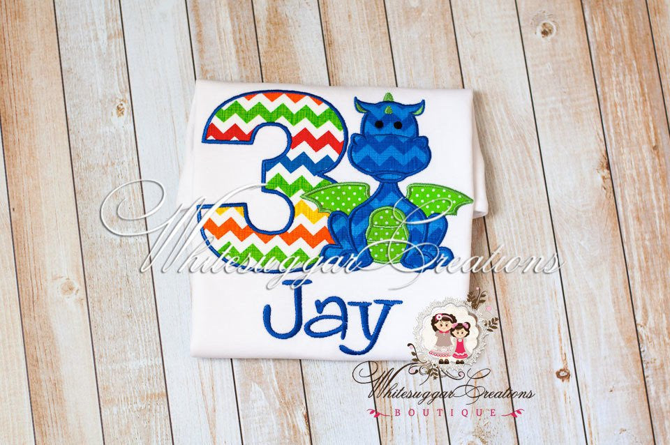 Green Dragon Birthday Shirt - Whitesuggar Creations Boutique