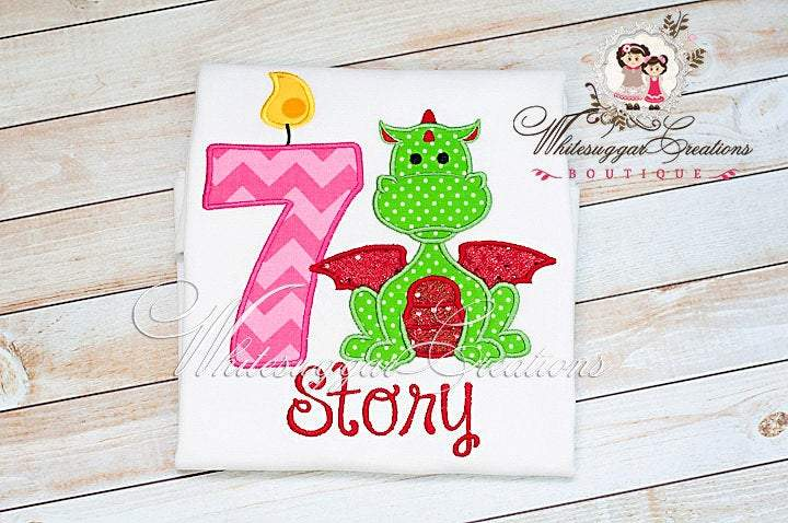 Girls Dragon Embroidered Birthday Shirt Whitesuggar Creations Boutique