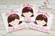 Lil Sister, Middle Sister, Big Sister Applique Shirt Whitesuggar Creations