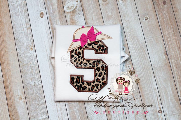 Safari Leopard Initial Shirt Whitesuggar Creations