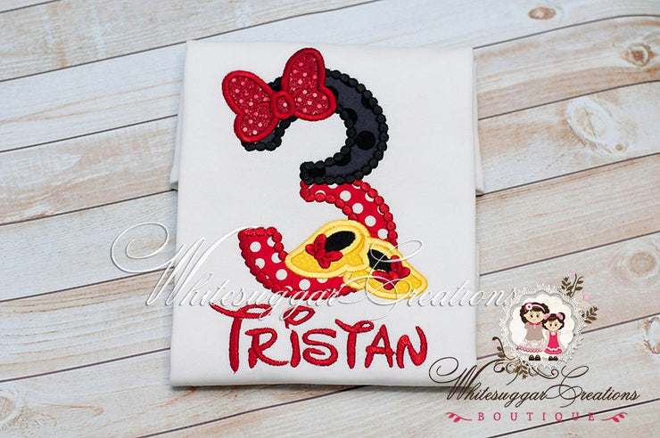 Minnie Mouse Shoes inspired Birthday Shirt Whitesuggar Creations