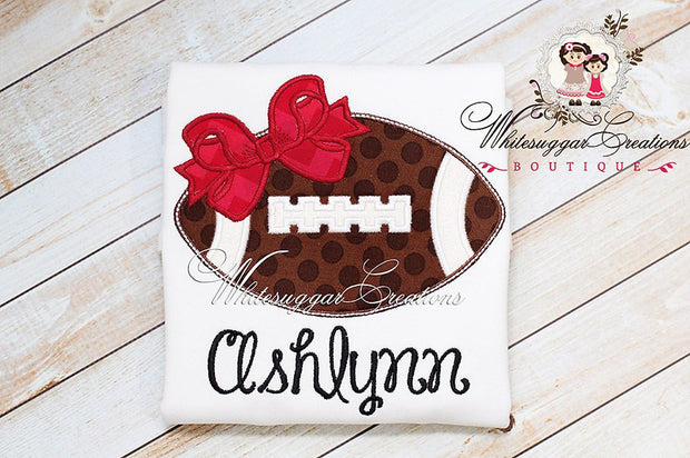 Girly Football Embroidered Shirt Whitesuggar Creations