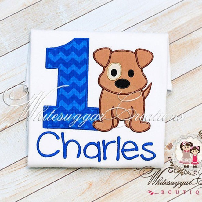 Boys Puppy Birthday Shirt - Baby Boy 1st Birthday Party Whitesuggar Creations