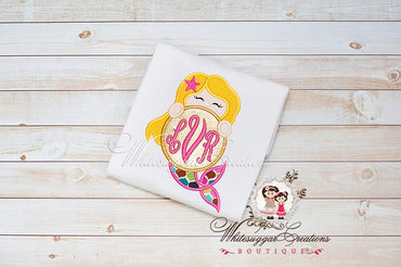 Peeking Mermaid Monogrammed Shirt - Baby Girl Mermaid Shirt - Glitter Gold Mermaid - Whitesuggar Creations Boutique