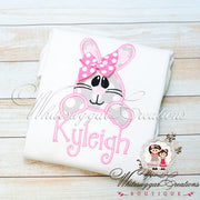 Easter Bunny Face Shirt for Girls - Whitesuggar Creations Boutique