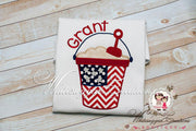 Girls Forth of July Flag Bucket Shirt Whitesuggar Creations