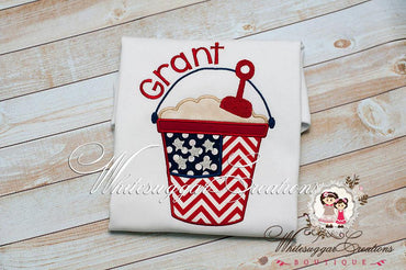 Girls Fourth of July Flag Bucket Shirt - Personalized Independence Day Shirt - Baby Girls 1st 4th of July Outfit