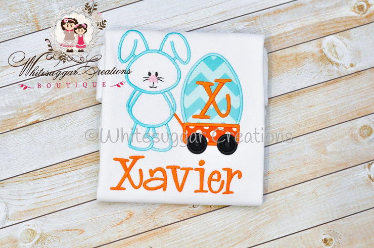 Boy Easter Bunny Wagon Appliqued Shirt - Boys Easter Outfit