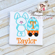 Boy Easter Bunny Wagon Appliqued Shirt - Boys Easter Outfit Whitesuggar Creations