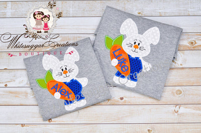 Boy Easter Bunny in Jump Suit Shirt - Bunny Personalized shirt