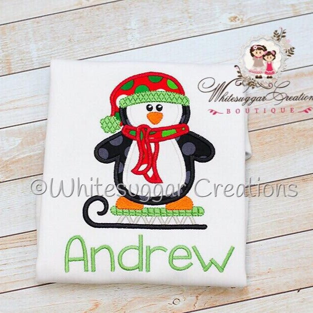 Boys Penguin on Sled Christmas Shirt Boys Shirt Whitesuggar Creations Boutique