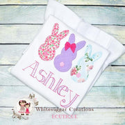 Bunnies Trio Personalized Shirt Girls Shirt Whitesuggar Creations
