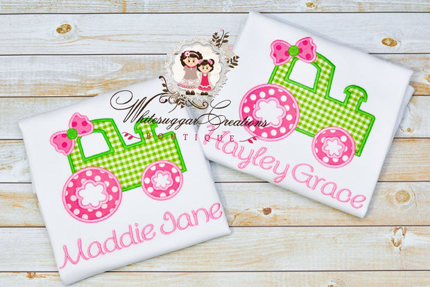 Girls Tractor Shirt Whitesuggar Creations