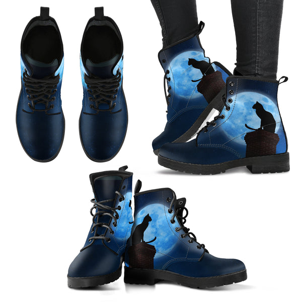 Black Cat And Full Moon Women Boots DHL Express Shipping boots - Grr Cats
