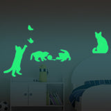 Luminous Play Cat Stickers Wall Sticker - Grr Cats