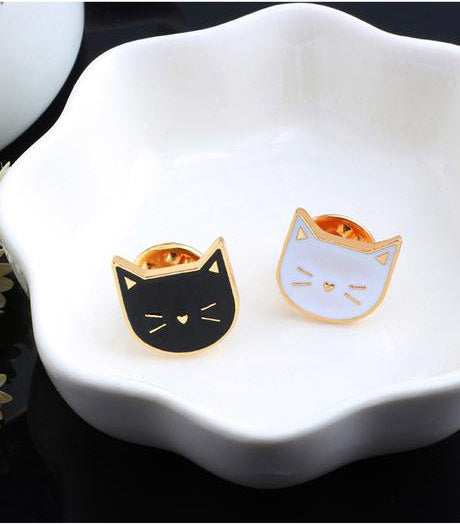 Black & white Brooches cat Pin - Grr Cats