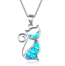 BLUE FIRE CAT STERLING SILVER NECKLACE Necklace - Grr Cats